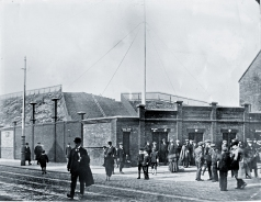 LIVERPOOL. ENGLAND. c1912. Anfield stadium, flag pole corner- Walton Breck Road and Kemlyn Road, with theoriginal unroofed 'Spion Kop' stand in foreground