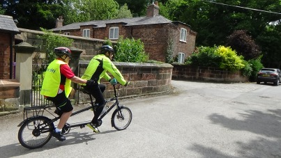 Victor and Volunteer Richard on the Tandem